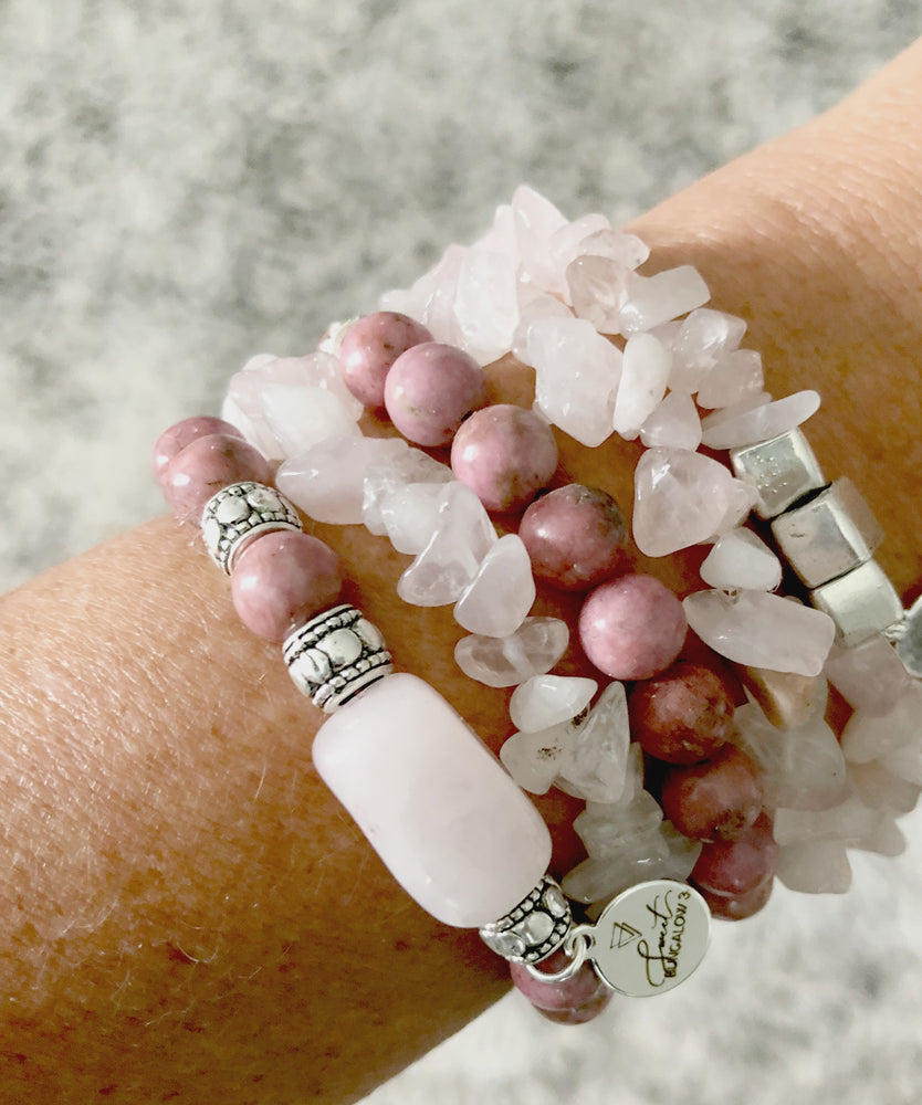 PINK CHIP STRETCH BRACELET SET