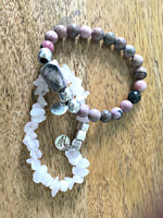 SHADES OF PINK AND BLACK RHODONITE STRETCH BRACELET