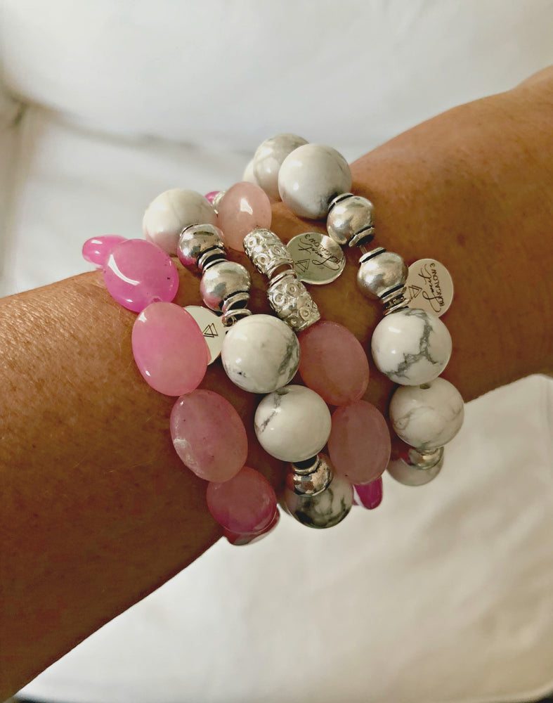 PINK DYED QUARTZ STRETCH BRACELET SET
