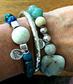 DYED AQUA STONE WITH AMAZONITE ACCENT STRETCH BRACELET