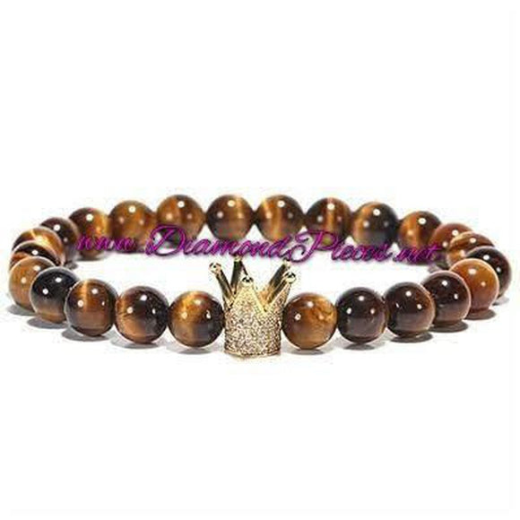 Gold Crown Bracelet - Tall Gold Crown with Tigers Eye Beads