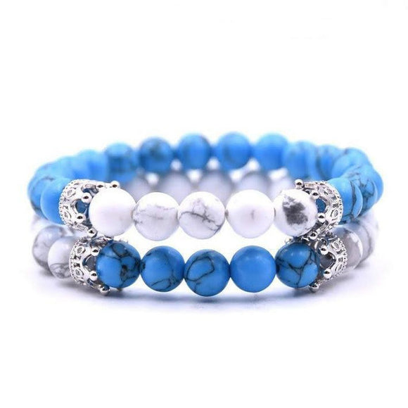 Aqua and White Crown Bracelet Set - Short Silver Crown w/h Aqua and White Marble Beads