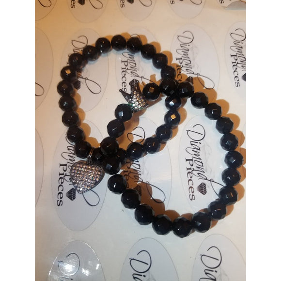 Gun Metal Heart & Crown Bracelet Set