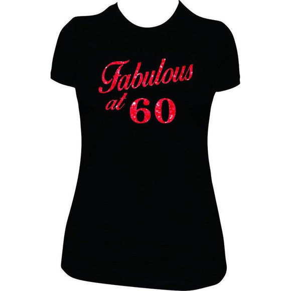 Fabulous at 60 Birthday Shirt - Red Glitter Vinyl