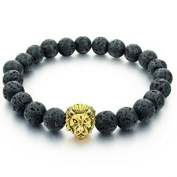 Courage Bracelet - Gold Lion Charm with Black Lava Beads
