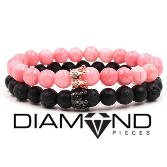 Pink & Black Crown Bracelet Set