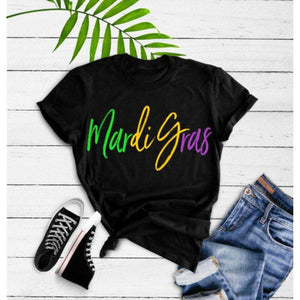 Mardi Gras Multi Color Graphic Tee