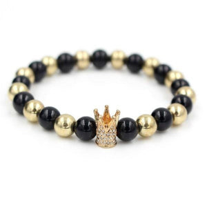Crown Bracelet - Tall Gold Crown w/h Black and Gold Gemstone Beads