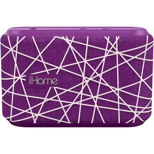 iHome iBT370 Portable Bluetooth Speaker System - Purple, White - Batte