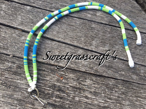 Blue, green and white lanyard