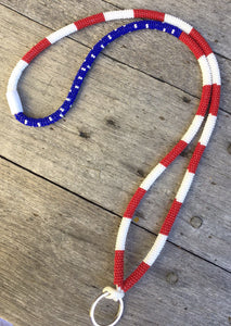 Beaded American flag lanyard