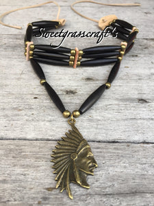 Native American bone choker necklace with chief in Headdress bone choker necklace bone bead choker bone bead necklace chief necklace chief choker head dress necklace head dress choker native american jewellery