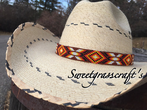 custom cowboy hat band beaded hat band western wear beaded cowboy hat band customized hat band
