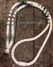 Beaded Lanyard- white & turquoise green