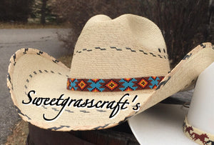 beaded hat band beaded custom hat band customizable hat band cowboy hat band native beadwork for sale native American beading unisex hat band unisex cowboy hat band