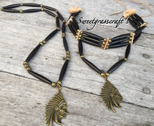 Native American Bone Choker with Brass Chief in Headdress- unisex