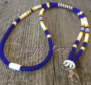 royal blue beaded lanyard