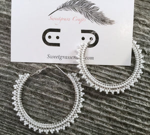 "silver & white 2"" inch hoop earrings"