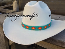 Beaded turquoise hat band