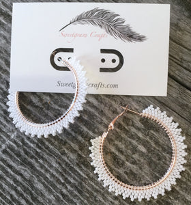 beaded white hoop earrings
