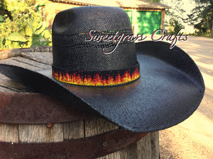 flame beaded hat band