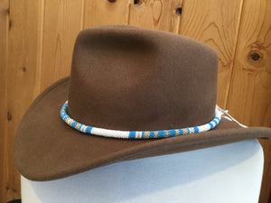Turquoise round beaded hat band, beaded rope necklace