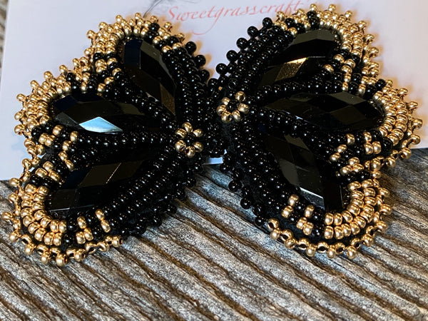 black gold beaded earrings