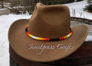 Matte Black round beaded hat band, beaded rope necklace