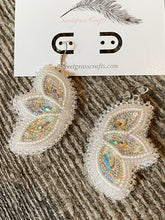 Hypoallergenic White Mardi Gras wedding beaded earrings