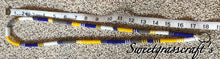 Blue, yellow, white & grey lanyard