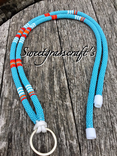 Beaded Lanyard- Turquoise blue
