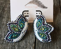 White Mardi Gras earrings, flower earrings
