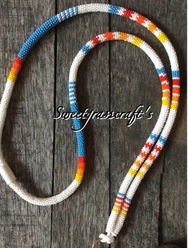 Turquoise, red, orange lanyard