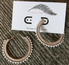 rose gold and white hoop earrings