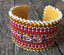 Métis sash with logo beaded cuff bracelet- white edging