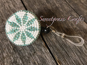 Sparkly mint beaded badge reel