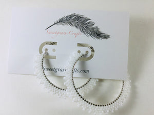 "2"" inch white beaded hoop earrings"