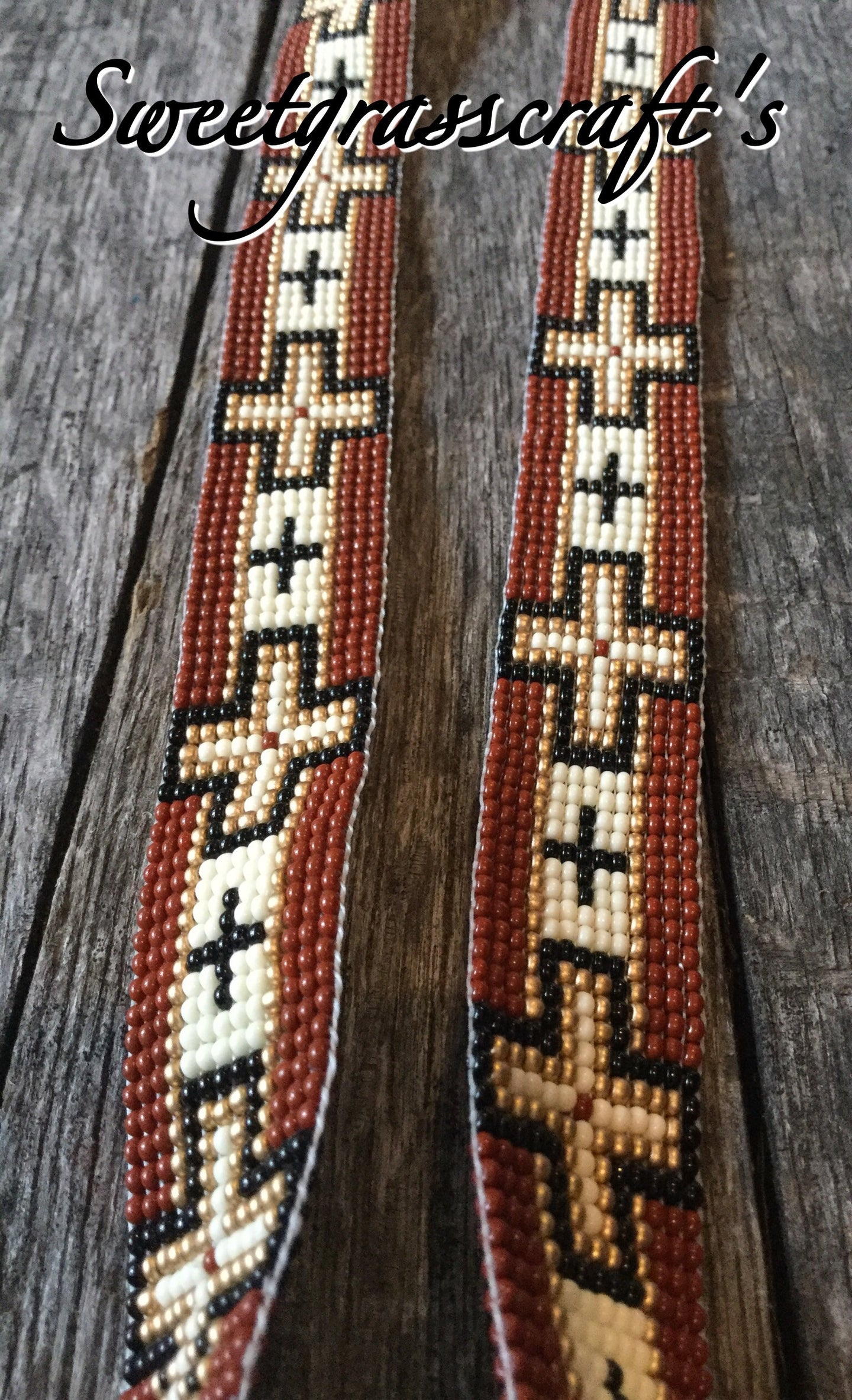 Navajo Cross Beaded Hat band- Brown