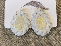 White wedding teardrop beaded earrings
