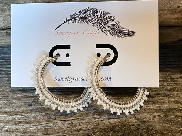 silver & white beaded hoops