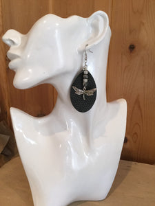 Black dragonfly earrings