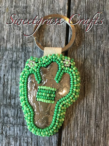 Smaller cactus beaded keychain- silver flowers