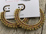 "2"" gold beaded hoops"