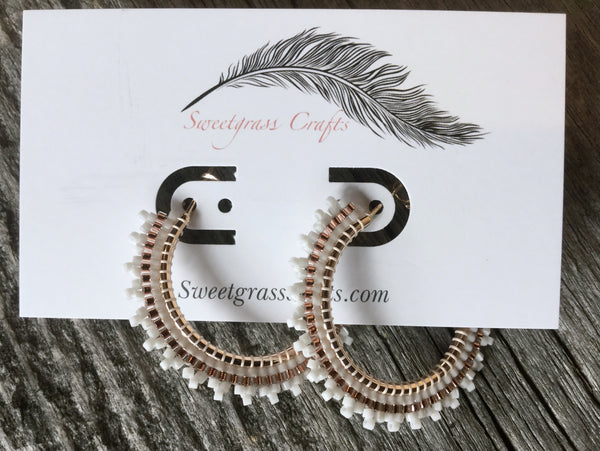 "White beaded rose gold hoop earrings- 1 1/2"" inch"