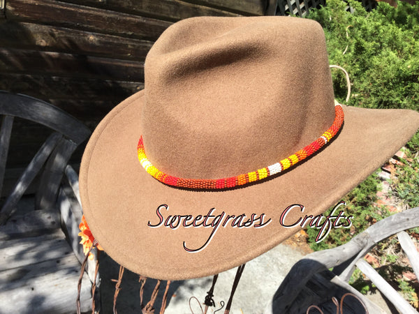 Brown round beaded hat band, beaded rope necklace