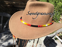 Black round beaded hat band, beaded rope necklace