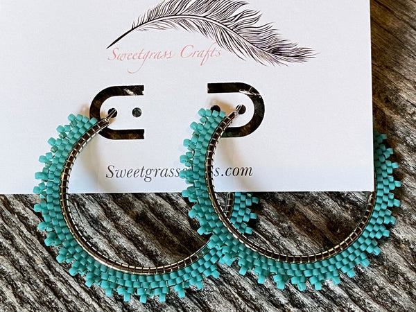 "2"" inch turquoise beaded hoop earrings"