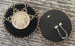 Buffalo nickel earrings- matte black