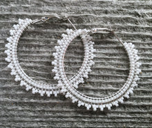 eaded silver & white hoop earrings