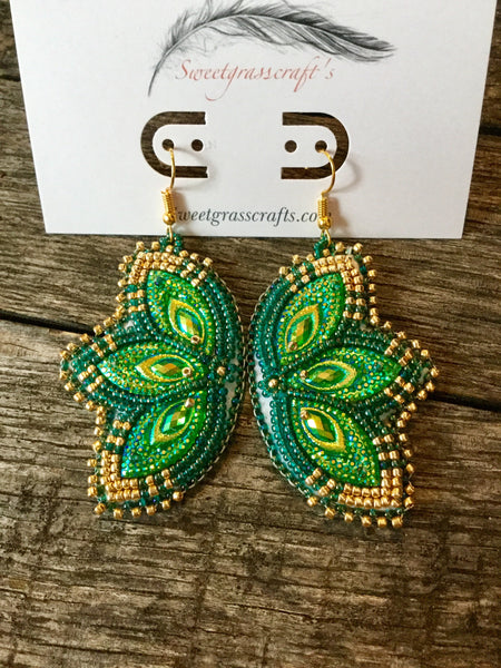 Beaded Peacock Earrings-green & gold
